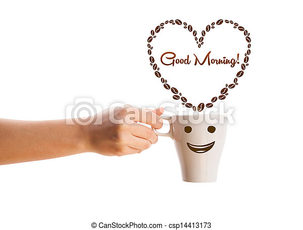 Coffee mug with coffee beans shaped heart with good morning sign, isolated on white - csp14413173