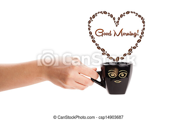 Coffee mug with coffee beans shaped heart with good morning sign, isolated on white - csp14903687