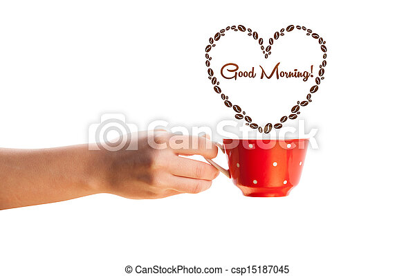Coffee mug with coffee beans shaped heart with good morning sign, isolated on white - csp15187045