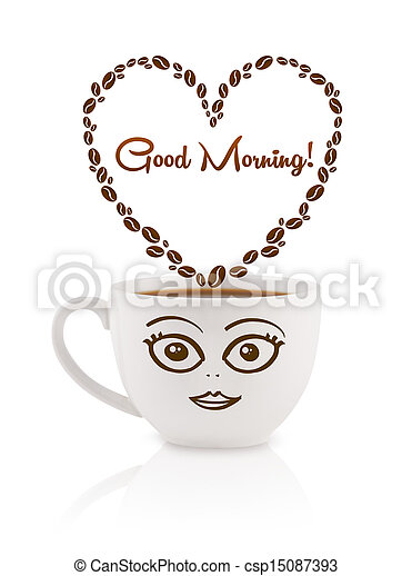 Coffee mug with coffee beans shaped heart with good morning sign, isolated on white - csp15087393