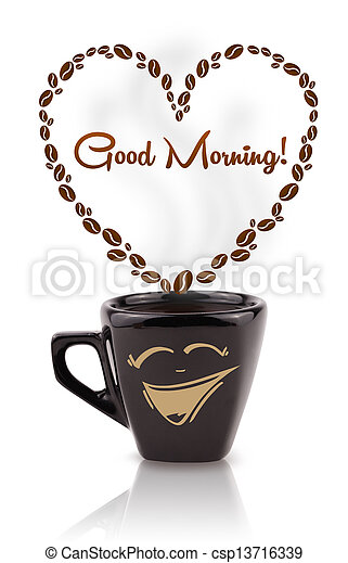 Coffee mug with coffee beans shaped heart with good morning sign, isolated on white - csp13716339