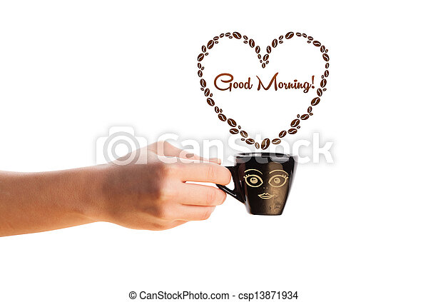 Coffee mug with coffee beans shaped heart with good morning sign, isolated on white - csp13871934