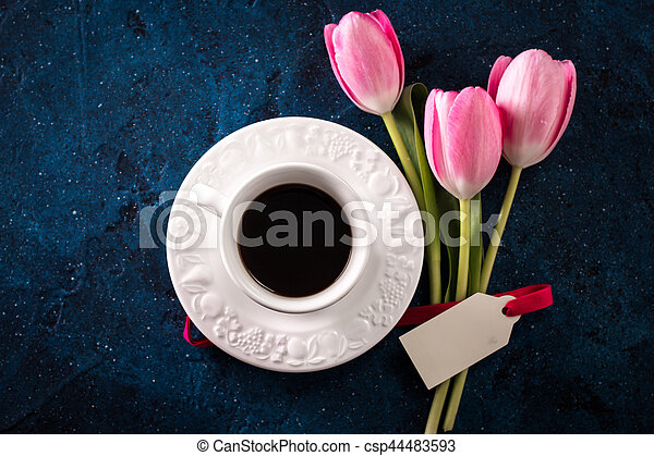 Tulip With Rustic Flowers Pink Notes Coffee Blue Paper And Mug On EI2HD9