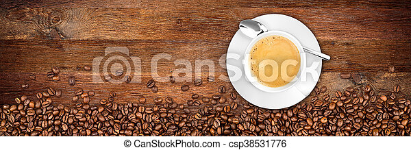 coffee old oak background - csp38531776