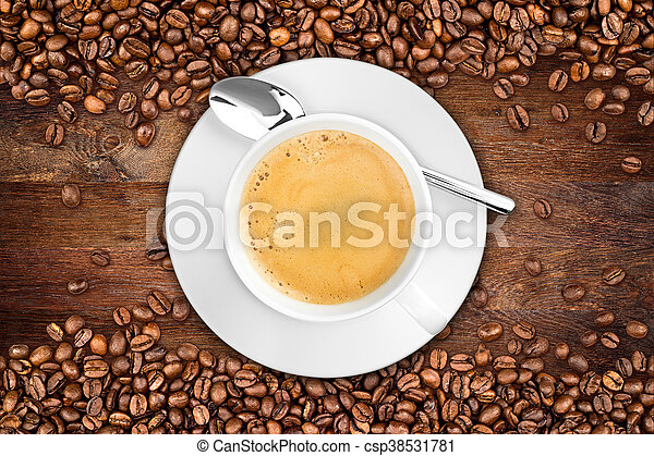 coffee old oak background - csp38531781