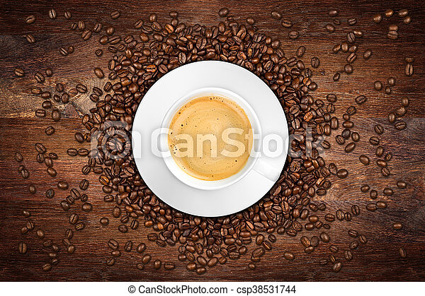 coffee old oak background - csp38531744