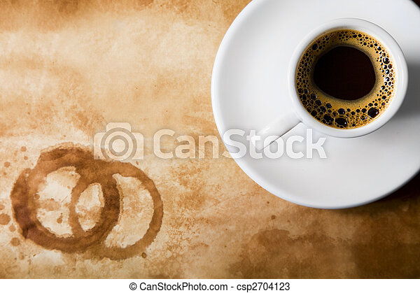 Coffee on old paper with round coffee stains - csp2704123