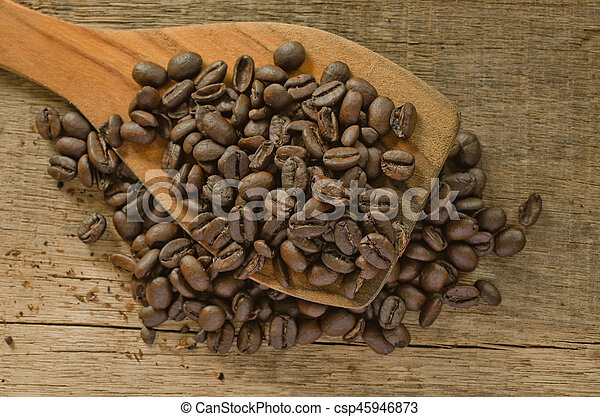 coffee on the wood - csp45946873