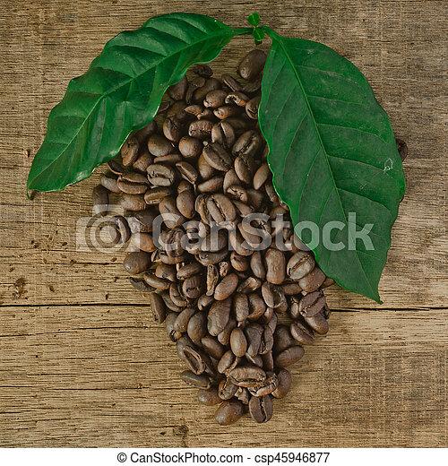coffee on the wood - csp45946877