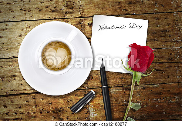 Coffee on Valentines day, wooden table/vintage valentin day back - csp12180277