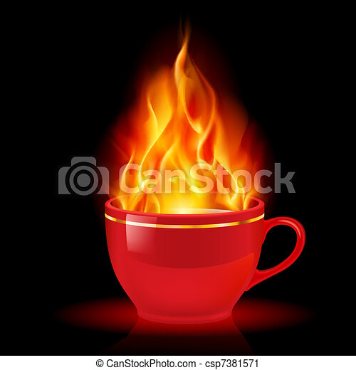 Coffee or tea cup with fire - csp7381571