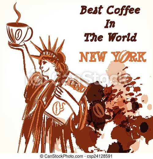 Coffee poster with statue of Libert - csp24128591
