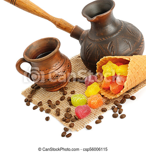 Coffee pot, cup of coffee, jujube and waffles isolated on white background - csp56006115