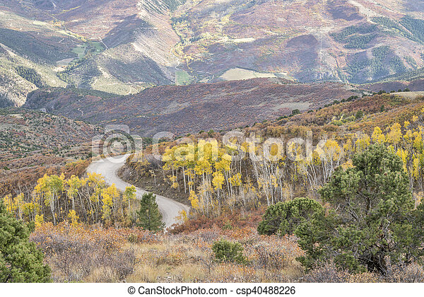 Coffee Pot road with golden aspen - csp40488226