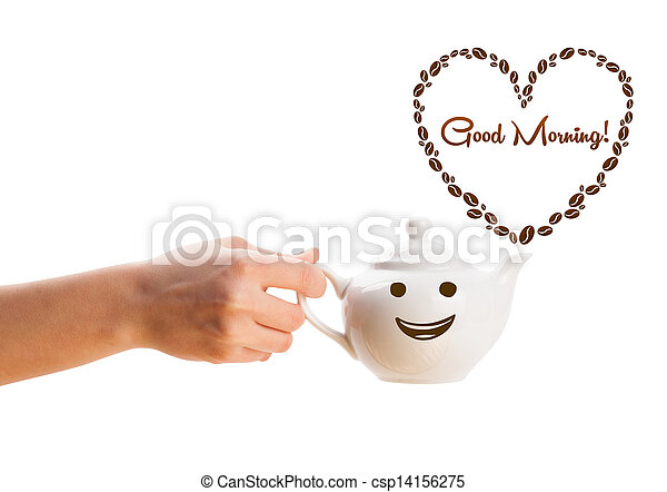 Coffee pot with coffee beans shaped heart with good morning sign, isolated on white - csp14156275