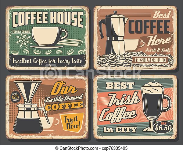 coffee retro poster espresso cappuccino cup coffee house retro grunge posters cafe hot drinks signs vector coffeehouse https www canstockphoto com coffee retro poster espresso 76335405 html