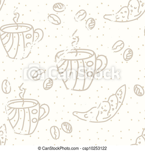 Coffee seamless pattern pastel colors - csp10253122