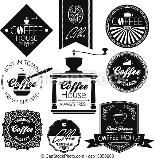 coffee set labels  - csp15358260