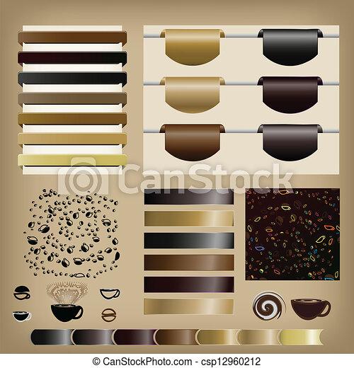 Coffee Set of ribbons - csp12960212