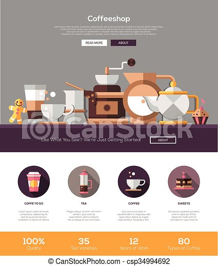 coffee shop cafe bakery website template with header and icons
