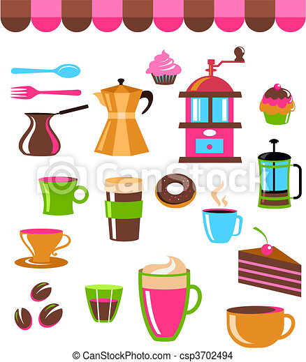 Coffee shop colourful icons - csp3702494