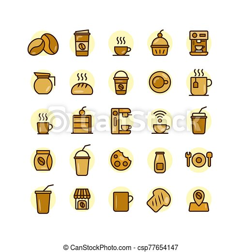 Coffee Shop filled outline icon set. - csp77654147