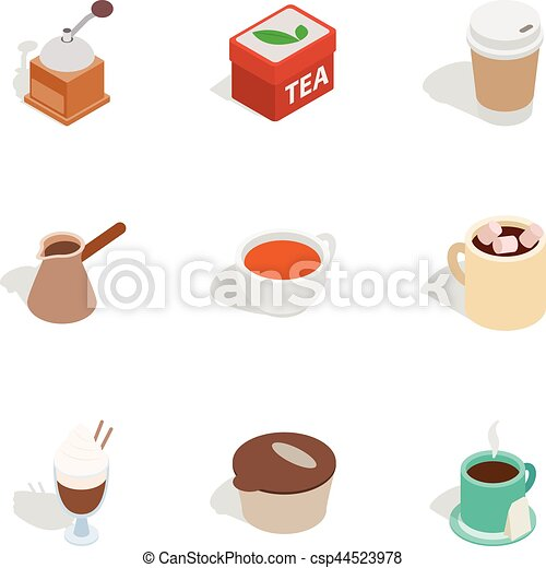Coffee shop icons, isometric 3d style - csp44523978