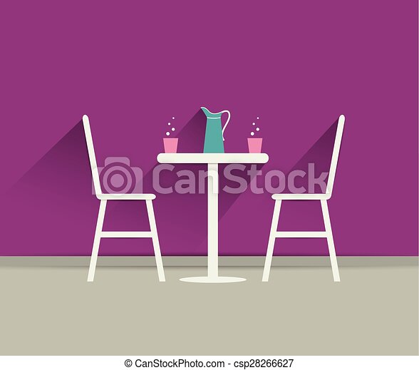 Vector Illustration of Coffee shop interior Chairs and table