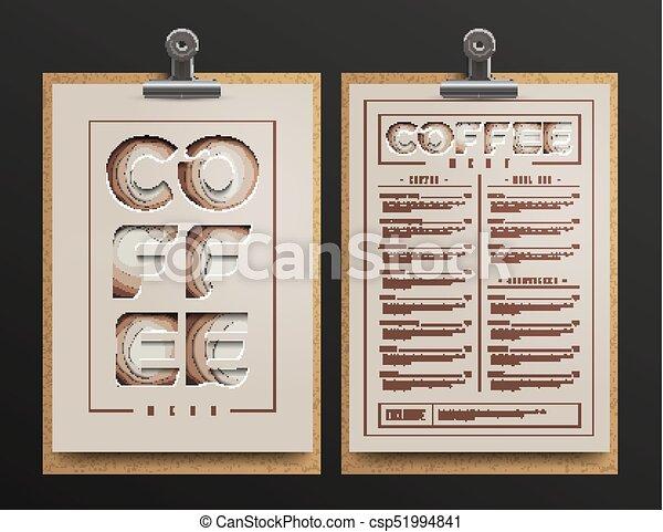 Coffee Shop Menu Template Cart Mock Up Vector Illustration