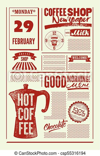 Coffee Shop Typographical Vintage Newspaper Style Poster Or Template