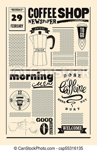 Coffee Shop Typographical Vintage Newspaper Style Poster Or Template Of Menu Retro Vector