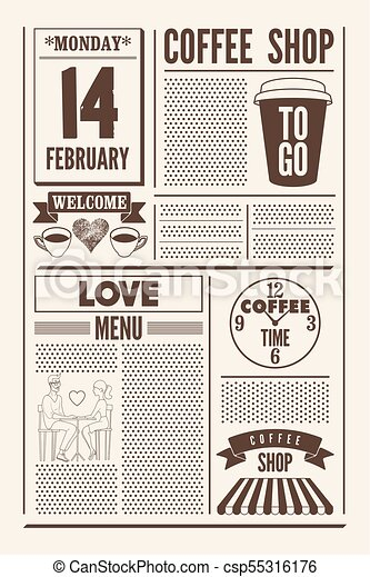 Coffee Shop Typographical Vintage Newspaper Style Poster Or Template Of Menu For Valentines Day
