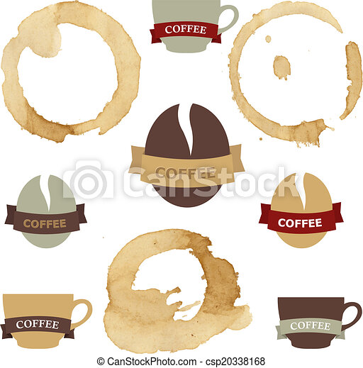 Coffee Stains With Symbols Set - csp20338168