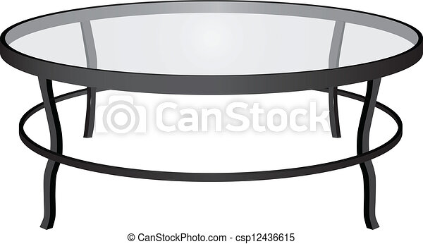 Coffee Table A Round Glass Interior Vector Illustration