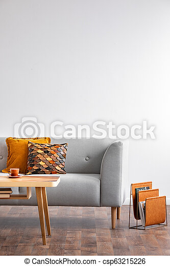 Fabulous Coffee Table With Cup In Bright Scandinavian Living Room Interior With Grey Couch And Autumn Color Pillows Real Photo With Copy Space On The Empty Beatyapartments Chair Design Images Beatyapartmentscom
