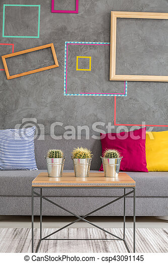 Coffee table with flowerpots - csp43091145