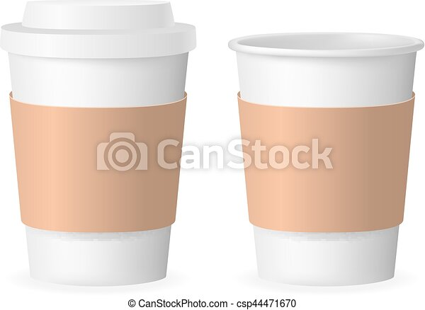 3ec6c027553 Coffee takeaway cup with cover 3d realistic mockup transparent background  design vector illustration