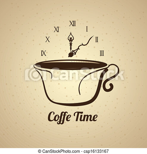 Coffee time over pattern background vector illustration.