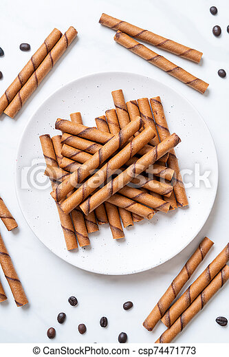 coffee wafer stick roll with cream - csp74471773