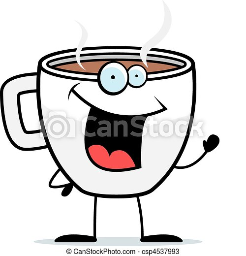Coffee Waving A Happy Cartoon Cup Of And Smiling