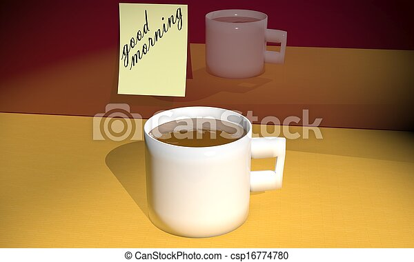 Coffee With Good Morning Note - csp16774780