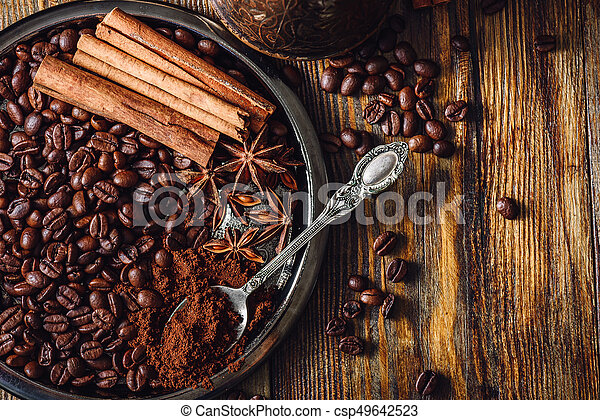 Coffee with Spices on Plate. - csp49642523