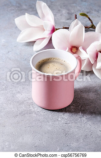 Coffee with spring flowers - csp56756769