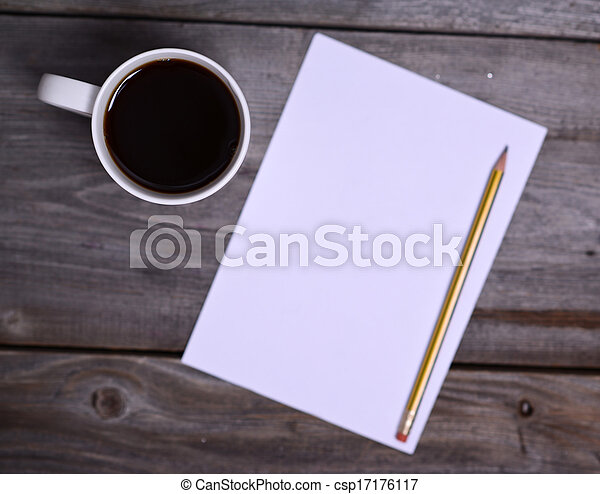Coffee with white blank paper - csp17176117