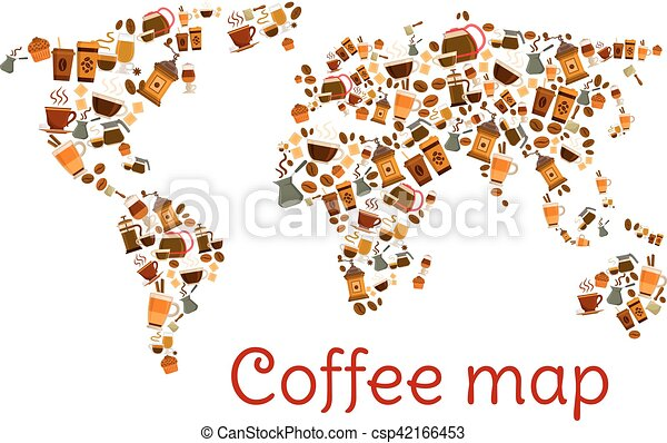 Coffee world map poster with cup and dessert coffee map clipart coffee world map poster with cup and dessert csp42166453 gumiabroncs Images