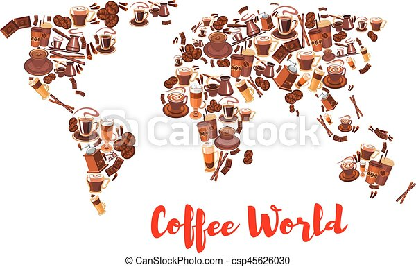 Coffee world map symbol for drink and food design coffee world map coffee world map symbol for drink and food design csp45626030 gumiabroncs Choice Image
