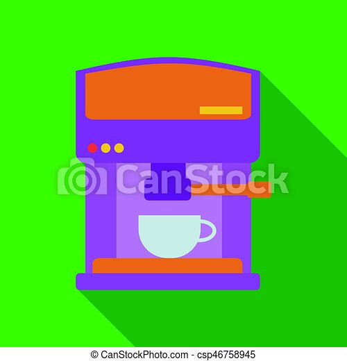 Coffeemaker icon in flate style isolated on white background. Kitchen symbol stock vector illustration. - csp46758945