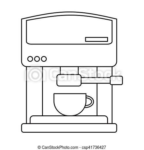 Coffeemaker icon in outline style isolated on white background. Kitchen symbol stock vector illustration. - csp41736427