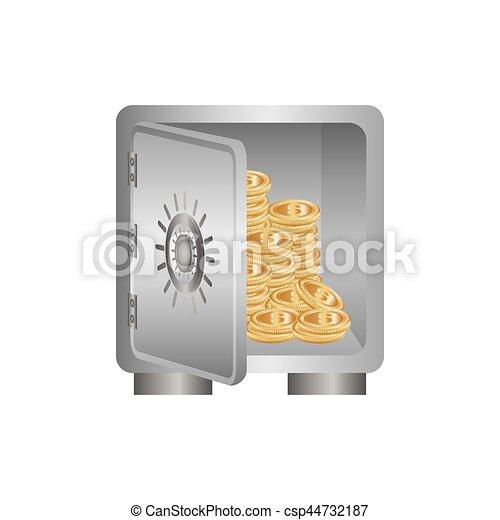 coffre-fort, sûr, argent - csp44732187