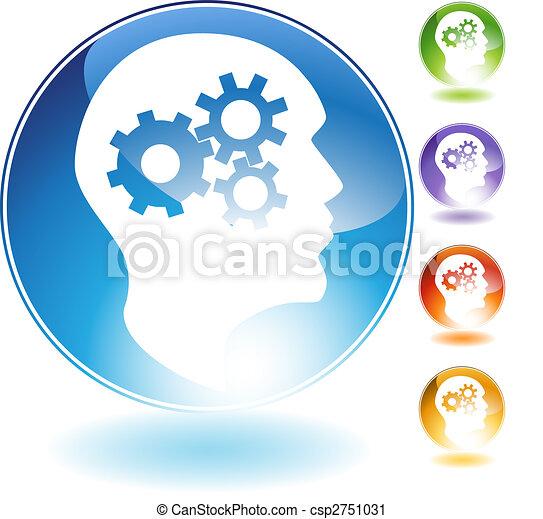Cog Wheel Mind Crystal Icon - csp2751031
